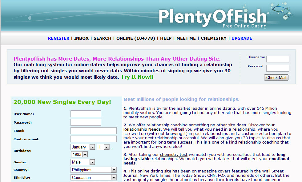plentyof fish login