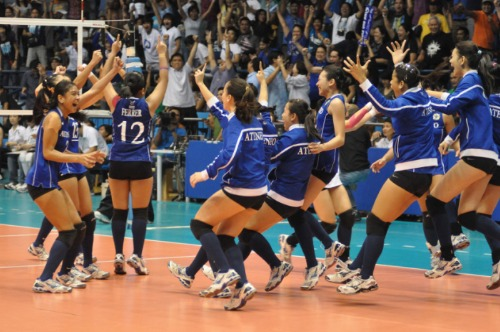 Lady Eagles rejoicing over their win against La Salle