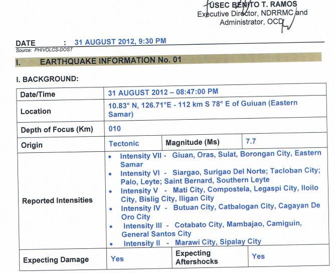 Philippines 7.9 Earthquake Damages Reports and Evacuations