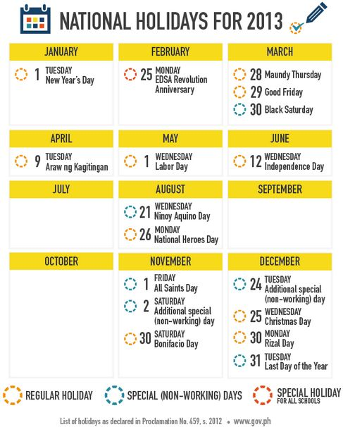 Philippine Holidays of 2013 List