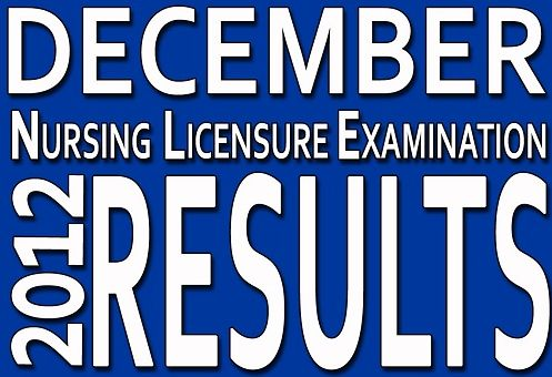 Nursing Board Exam (NLE) December 2012 Results