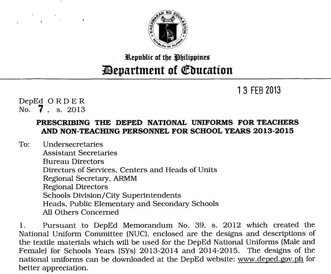 DepEd Memo for Teachers & Personnel Uniform for 2013-2015 ...