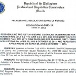 PRC Resets Nursing Board Exam from July to June 2013