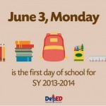 June 3, 2013 First Day of School According to DepEd