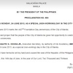 June 24 Manila Holiday Proclaimed by Malacanang