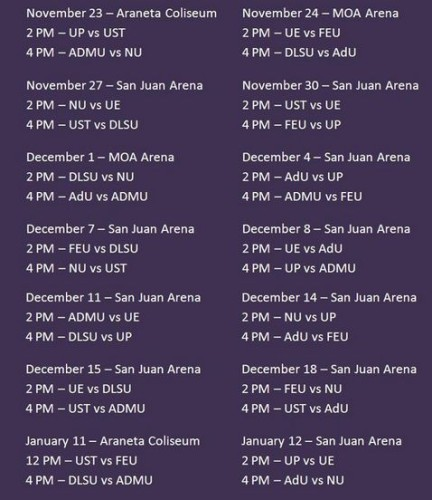 the tentative schedules of the UAAP Season 76 Volleyball Tournament