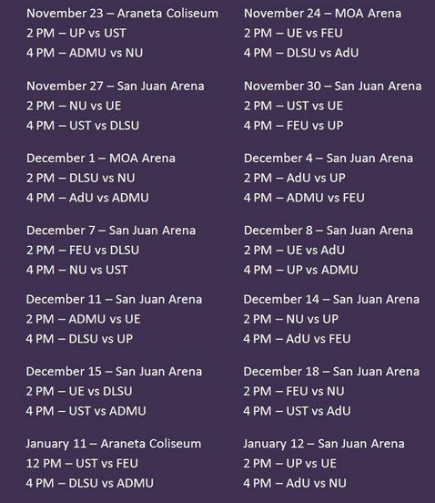 UAAP Season 75 Volleyball – Men's & Women's – Game Schedule
