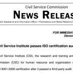 Civil Service Institute Passes ISO Certification Audit