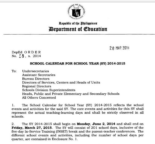 deped released sy 2014 2015 schedules press release