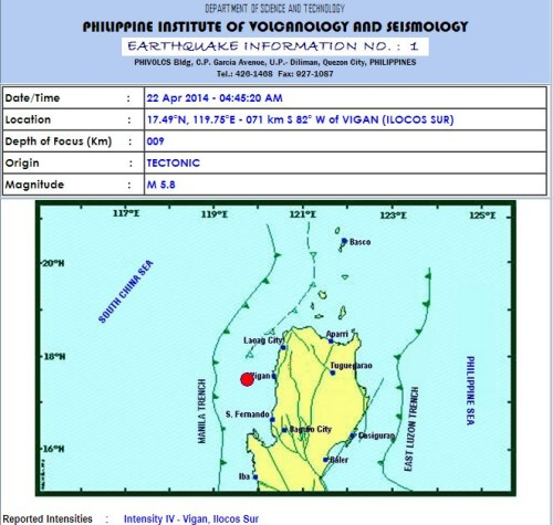 Magnitude 5.9 Earthquake Struck Ilocos Sur (April 22, 2014)