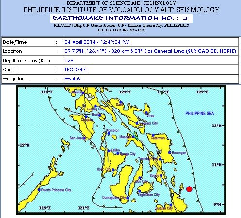 Magnitude 4.6 Earthquake Struck Surigao del Norte (April 24, 2014)