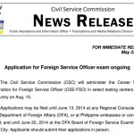 CSC: Application of Foreign Service Exam Ongoing (Schedules)