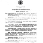 July 29, 2014 Ramadan (Eid'l Fitr) Regular Holiday Declared