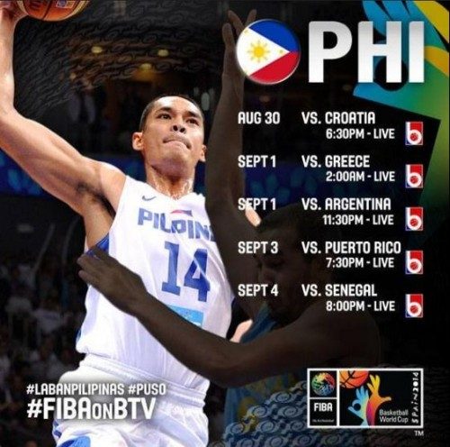 Gilas Pilipinas Complete Schedules of Games & Coverage (FIBA World Cup)