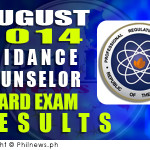 Guidance Counselor Board Exam Results List of Passers (August 2014)