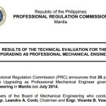 July 2014 Mechanical Engineer Upgrading Board Exam Results