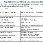August 2014 Physical Therapist & Occupational Therapist Top 10 Passers (Topnotchers)