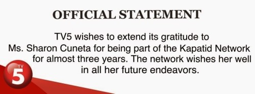 TV5′s Official Statement After Sharon Cuneta Leaves Network