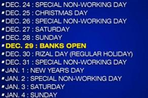 There Is Only One Banking Day From December 24 To January 4