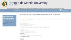 Ateneo College Entrance Test (ACET) 2015-2016 List of Passers Released