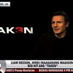 Liam Neeson Invites Filipinos to Watch Taken 3 & Impersonates Pacquiao