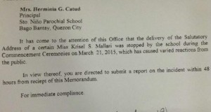DepEd Issued Memo to SNPS Investigating Krisel Mallari's Viral Speech