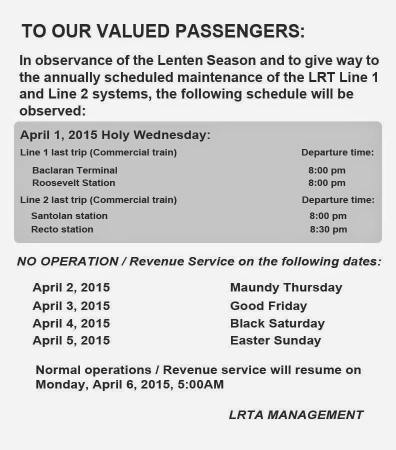 lrt mrt pnr schedules of operations for holy week 2015