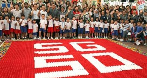 Pre-schoolers Form Largest SG50 Logo, Recycled Egg Cartons Utilize