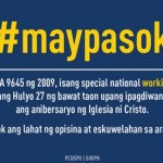 July 27, 2015 National Special Working Holiday for INC Anniversary