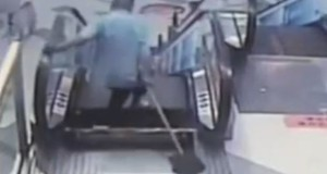 Janitor Caught in a Heart Stopping Footage As Foot Stuck in Escalator