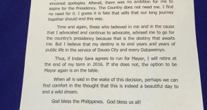 Mayor Duterte's Final Decision: Not to Run for President (Letter to Supporters)