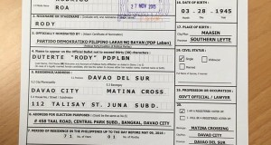 Mayor Rodrigo Duterte Officially Files COC for President of the Philippines