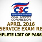 Region 3 List of Passers April 2016 Civil Service Exam (Prof. & Sub. Prof.)