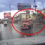 Over Speeding Jeepney Slipped On Wet Road Causing Potential Accident