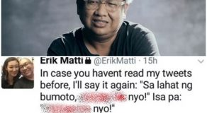Director Erik Matti Outraged Netizens After Cursing at Filipinos Who Voted for Duterte