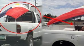 PH National Flag Used To Cover Dogs At The Back Of Pick-Up
