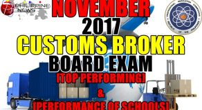 TOP PERFORMING & PERFORMANCE OF SCHOOLS: November 2017 Customs Broker Board Exam