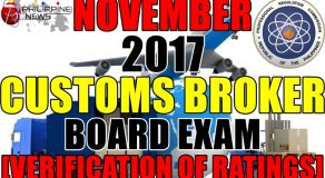 VERIFICATION OF RATINGS: November 2017 Customs Broker Board Exam