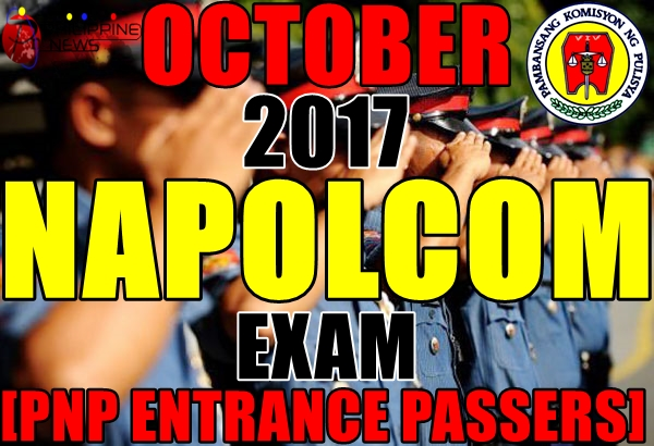 PNP ENTRANCE PASSERS: October 2017 NAPOLCOM Exam Results