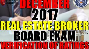 VERIFICATION OF RATINGS: December 2017 Real Estate Broker Board Exam