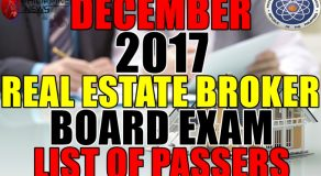 FULL RESULTS: December 2017 Real Estate Broker Board Exam List of Passers