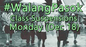 #WalangPasok: Class Suspensions On Monday (December 18)