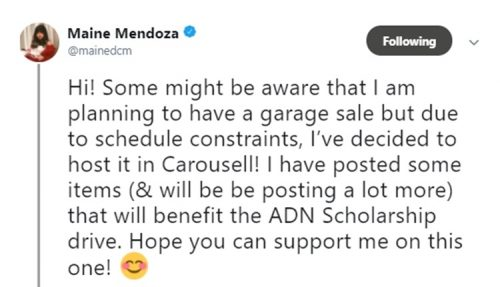 Maine Mendoza Sells Her Preloved Items To Help Scholar
