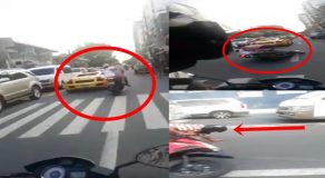 Road Accident Between Lamborghini & Motorcycle Caught On Camera
