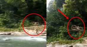 Poor Kids In Davao Use Rattan Cable To Cross Dangerous River Just To Reach School