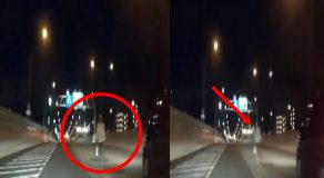 Creepy Ghost Walking Along Flyover Caught On Dashcam