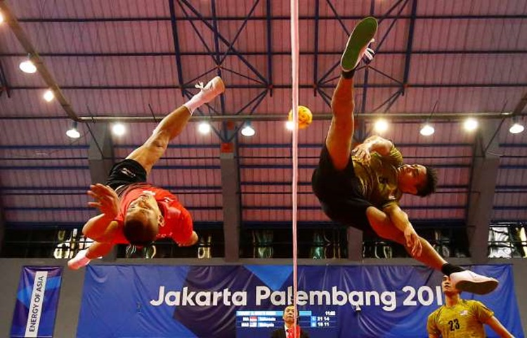 Sepak Takraw Players From Indonesia, Malaysia