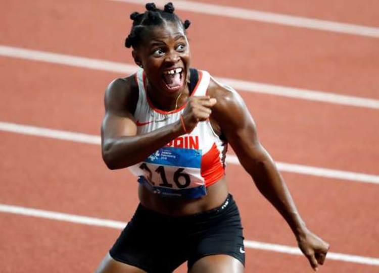 Bahrain's Edidiong Ofonime Odiong after 100 m Dash Winning