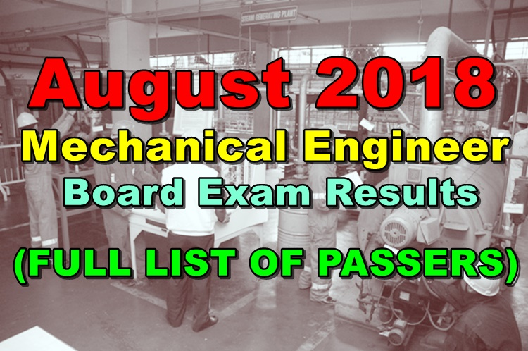August 2018 Mechanical Engineer Board Exam