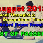 August 2018 Physical & Occupational Therapist Board Exam